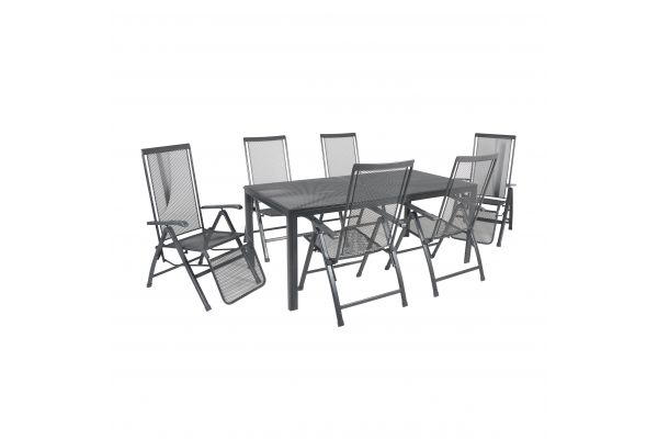 Essgruppe Toulouse Premium (1 x Tisch, 4 x Klappsessel, 2 x Relaxsessel)
